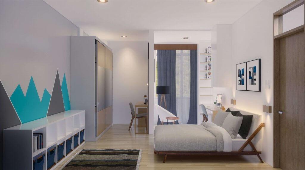 Kamar mandi gaya modern dengan cat berwarna putih