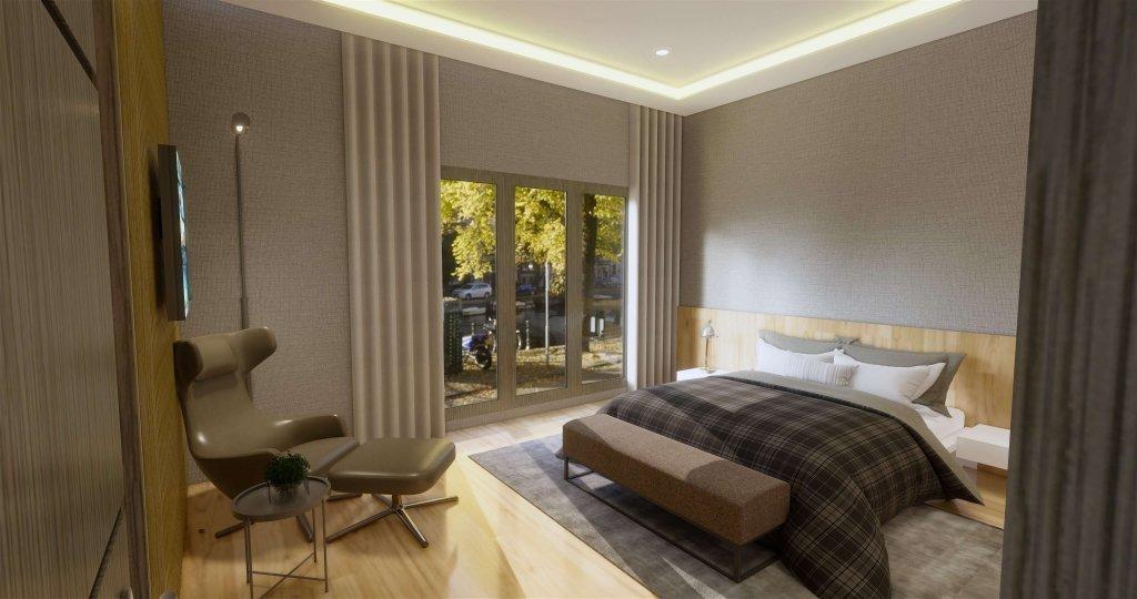 Kamar tidur utama dengan desain modern ditambah kaca besar untuk pencahayaan