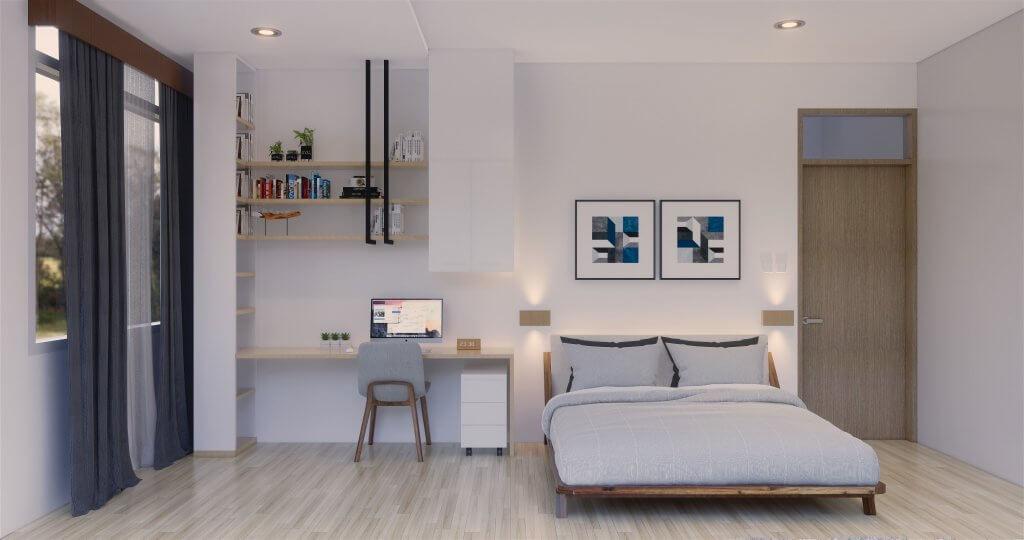 Desain kamar tidur modern minimalis dengan cat dominasi putih dan furnitur yang elegan