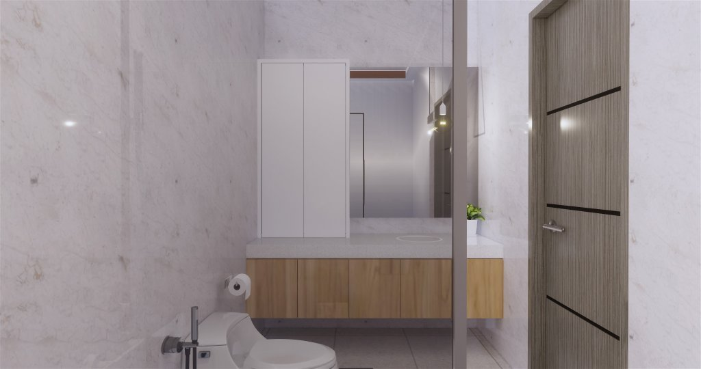 Desain kamar mandi gaya modern ditambah furnitur yang memiliki kesan minimalis