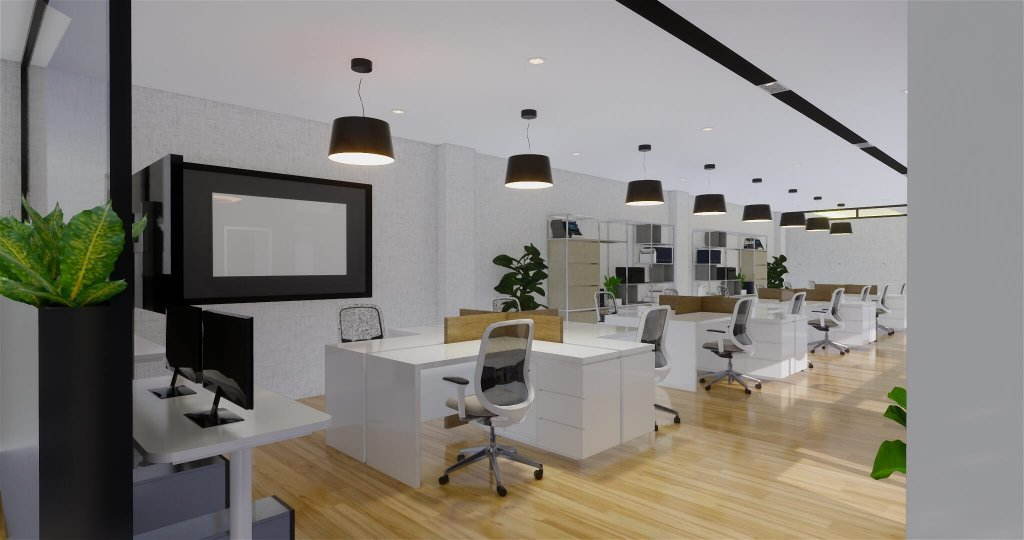 Desain interior ruang kerja utama karyawan