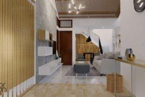 ruang keluarga dengan desain modern natural