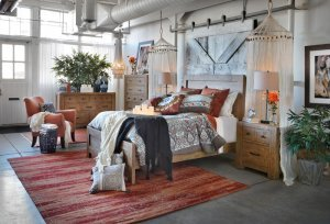 Interior kamar tidur desain bohemian natural