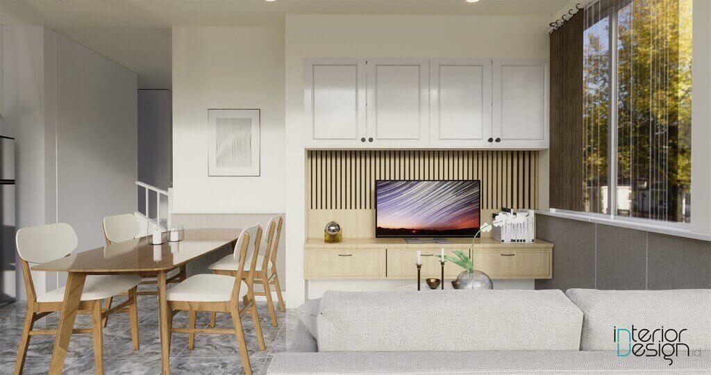 ruang keluarga ruang makan gaya minimalis modern dengan sentuhan natural