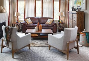 Ruang tamu gaya boho modern