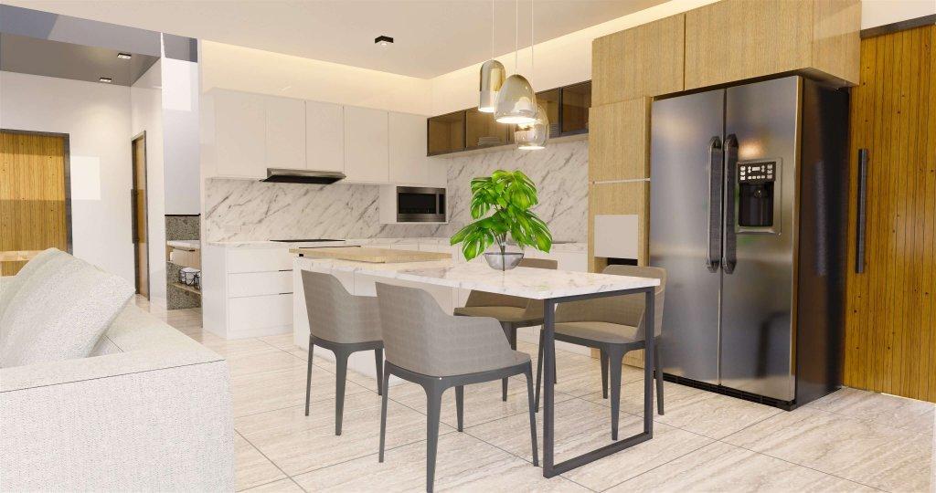 Desain interior ruang makan modern natural