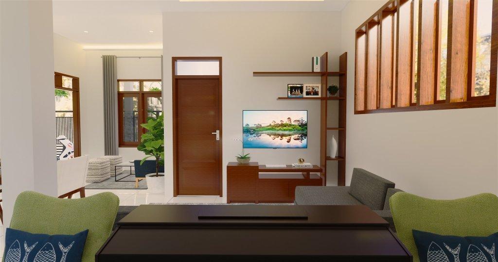 interior ruang keluarga dengan konsep kontemporer dilengkapi sirkulasi udara