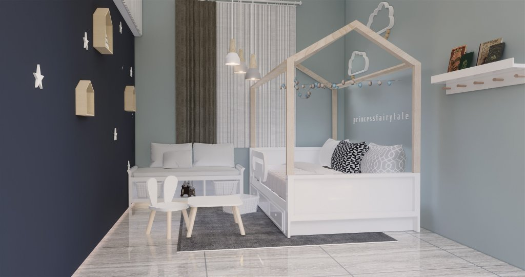 Interior desain kamar tidur anak modern natural