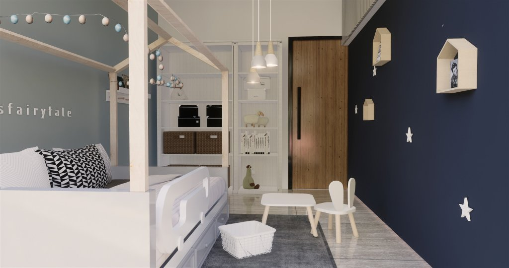 Desain interiro kamar tidur anak modern natural