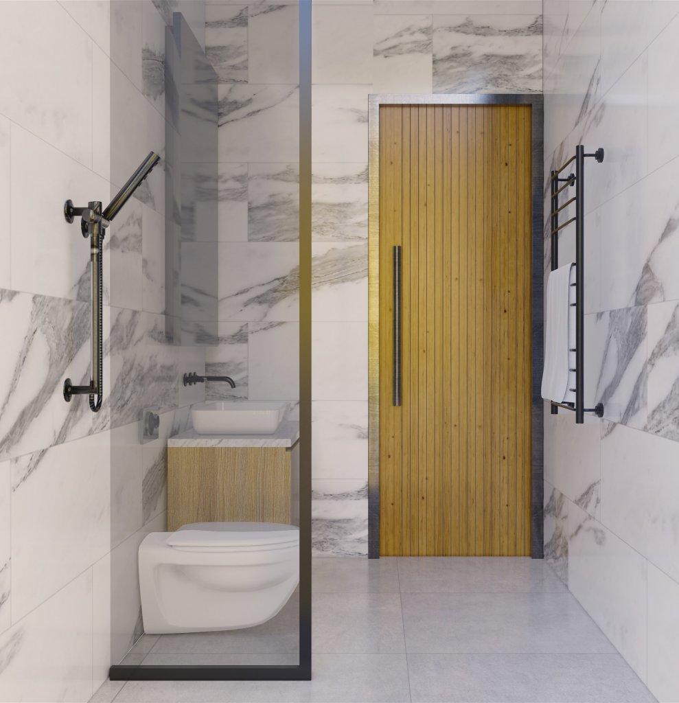 Desain kamar mandi modern natural