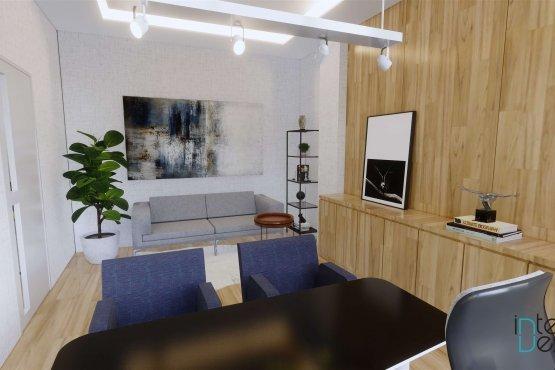 Interior desain ruang kerja modern natural