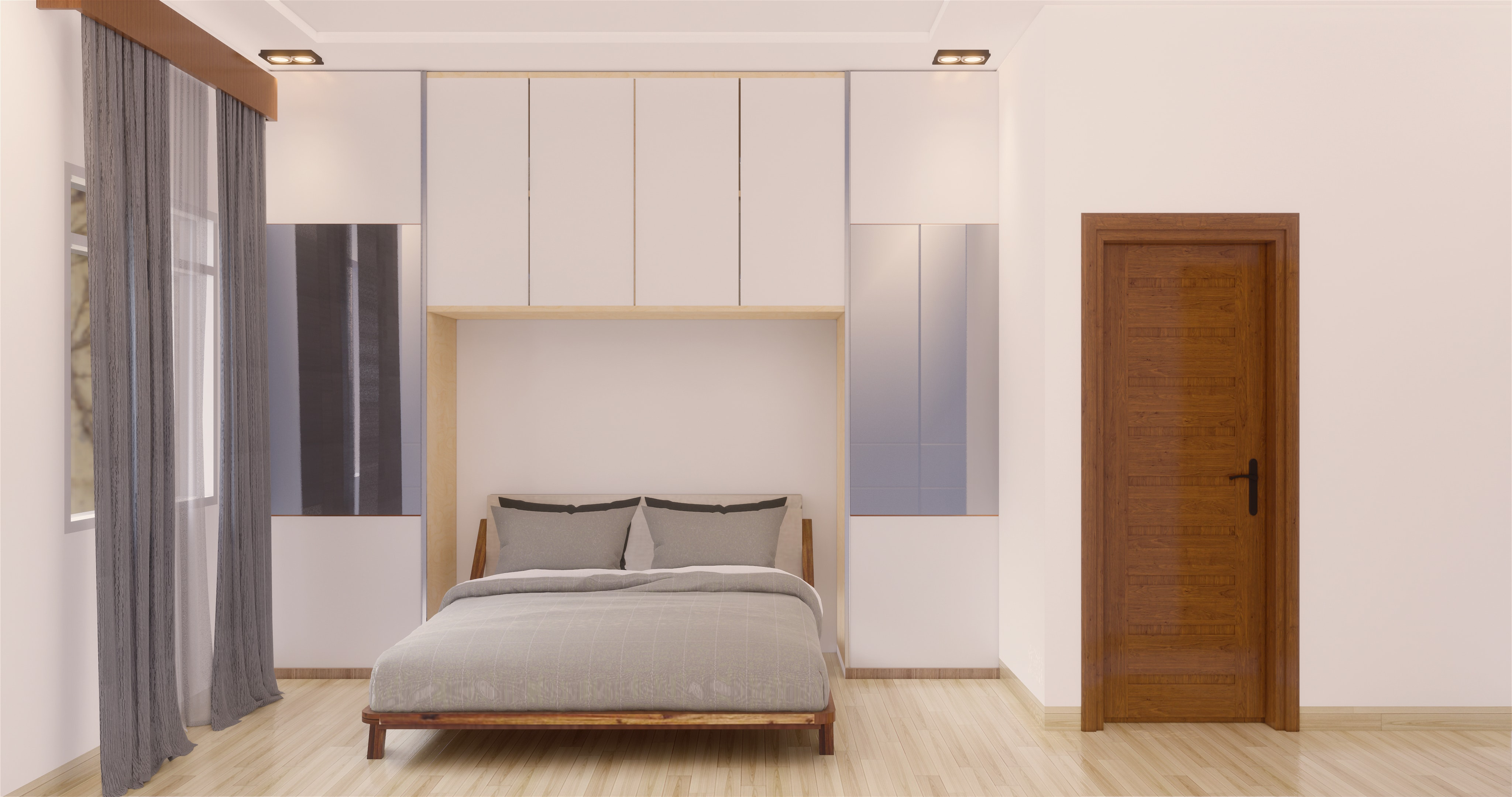 Desain kamr tidur gaya modern industrial