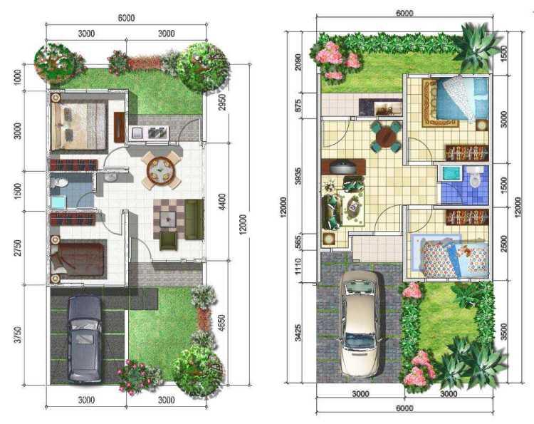 denah rumah minimalis 2 kamar ukuran 6x12 meter