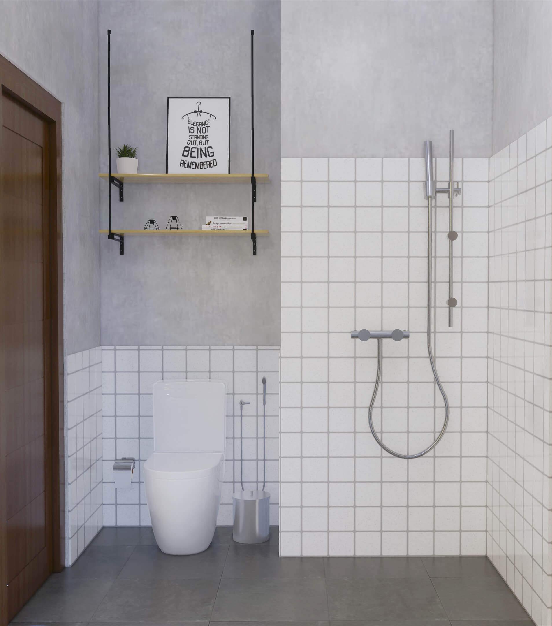 interior kamar mandi gaya industrial minimalis