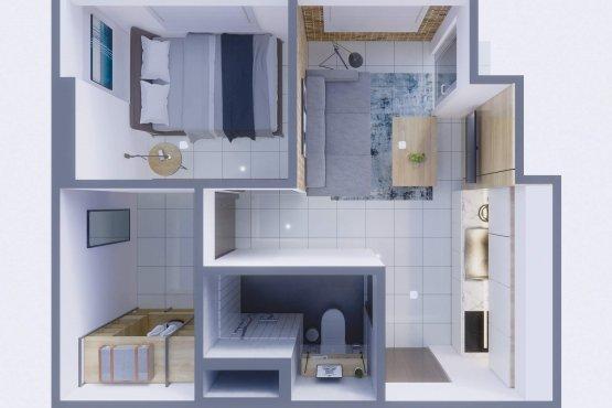 denah apartemen modern minimalis