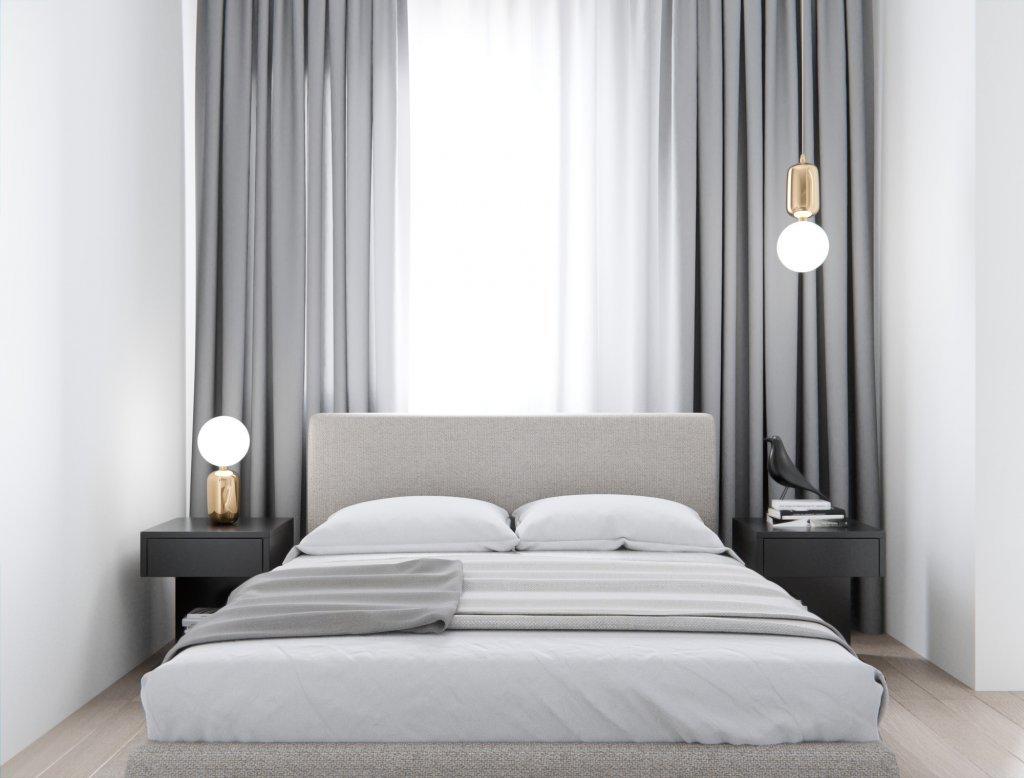 Interior kamar tidur modern minimalis dengan nuansa cat warna putih