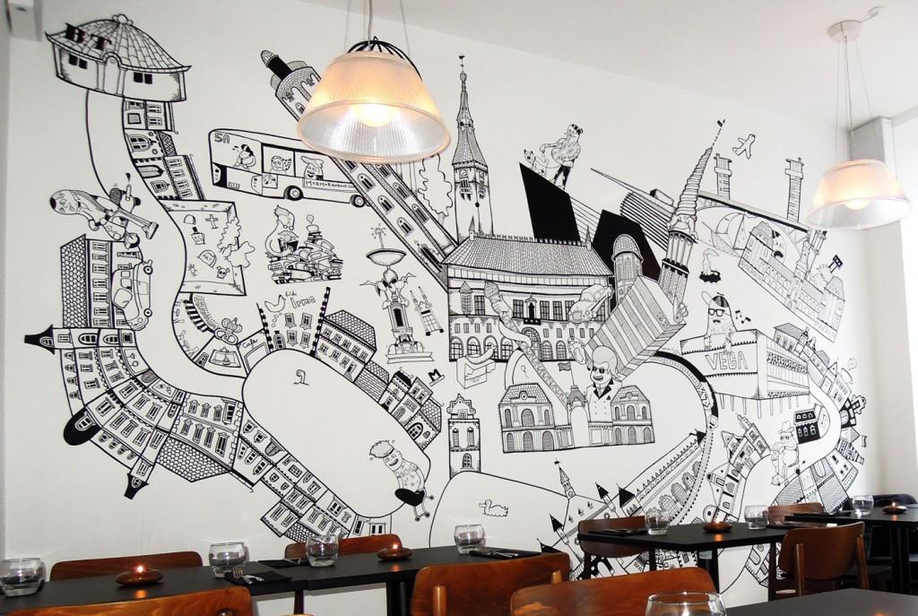 Desain interior cafe dengan hiasan mural