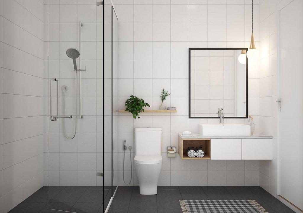 Desain kamar mandi minimalis sederhana dengan tema warna yang cerah