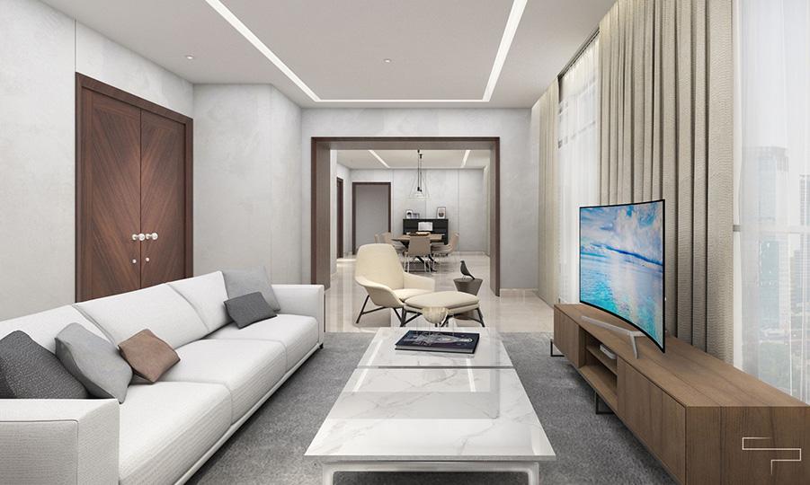 interior ruang keluarga dan ruang tamu tanpa sekat