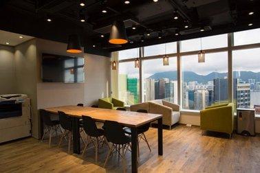 Desain interior coworking space gaya modern kontemporer