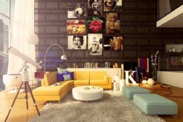 interior ruang keluarga bergaya pop art