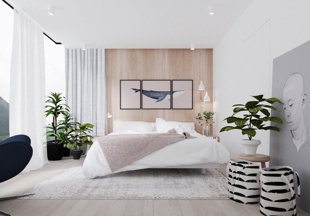 desain interior kamar tidur modern minimalis dengan nuansa tanaman hijau dan hiasan dinding
