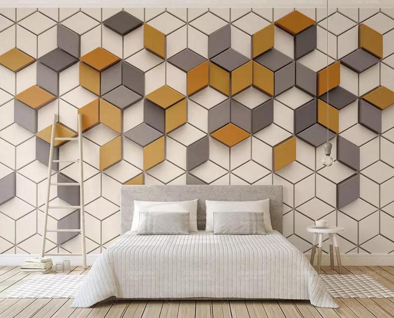 wallpaper dinding bentuk geometris