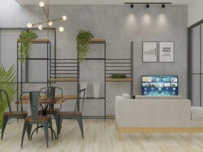 Desain dapur dan ruang makan industrial