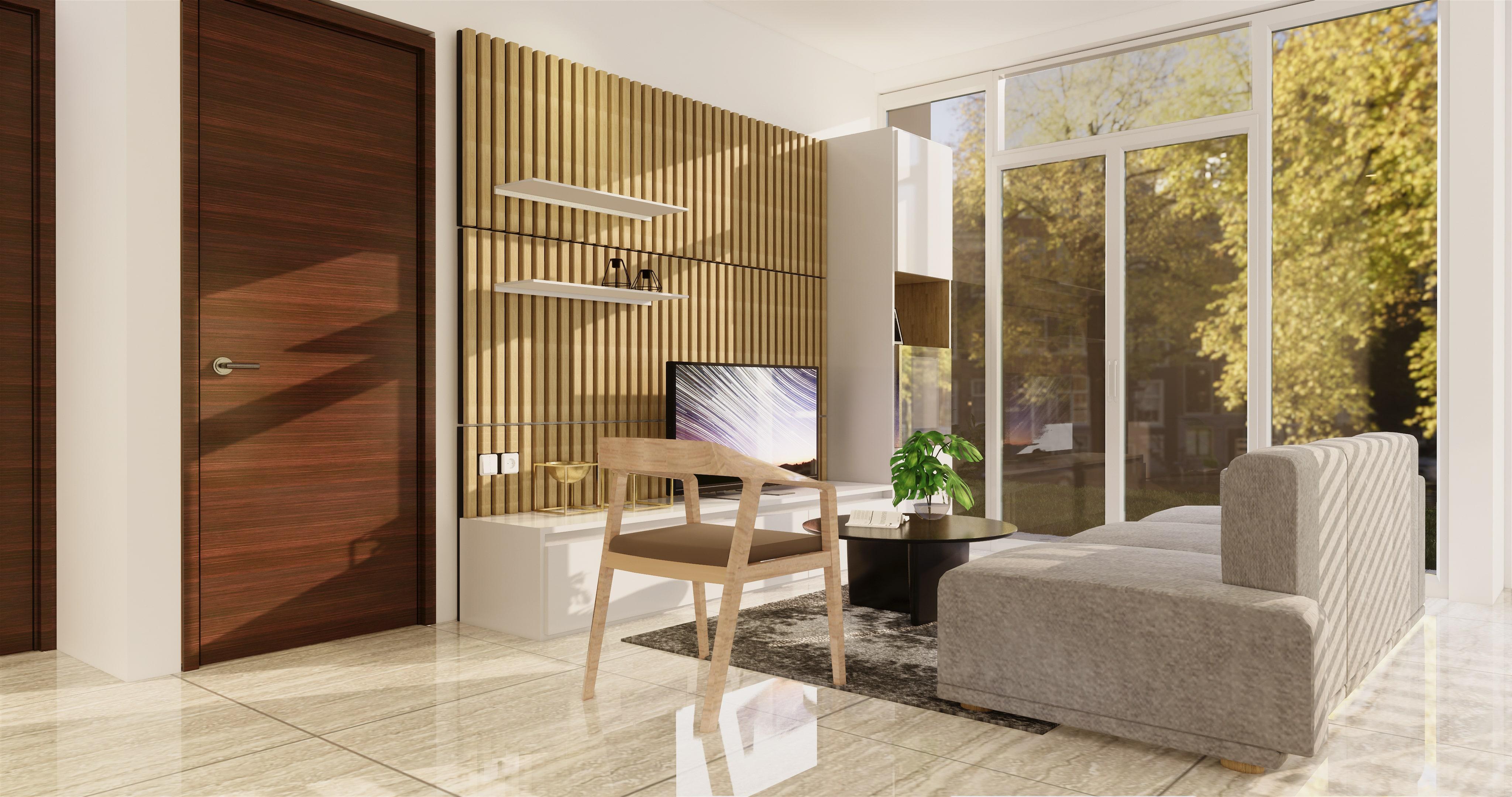 Interior ruang keluarga gaya modern natural
