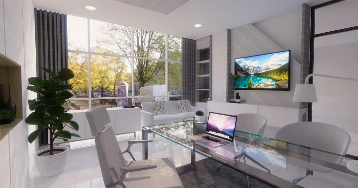 Interior ruang kantor dengan aksen warna putih yang elegan