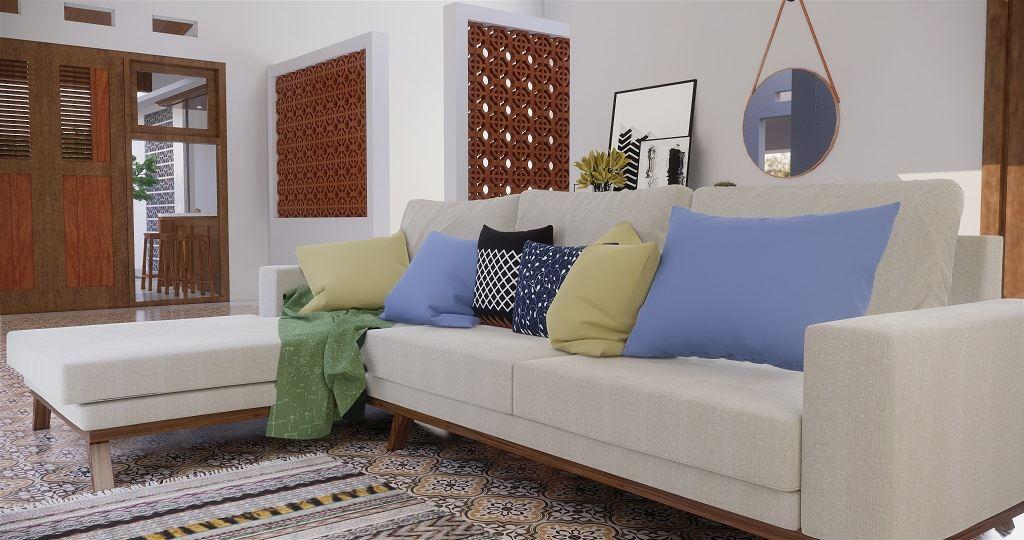 ruang keluarga gaya kolonial