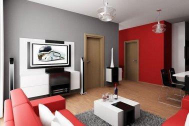Ruang tamu dengan desain modern minimalis