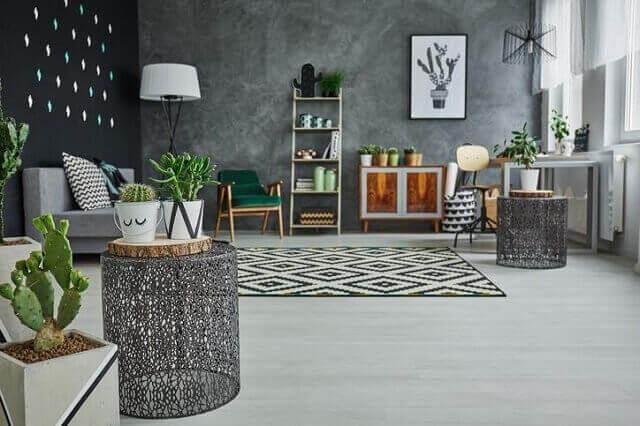 interior apartemen dengan tanaman indoor