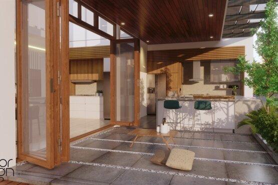 desain teras dan area dapur