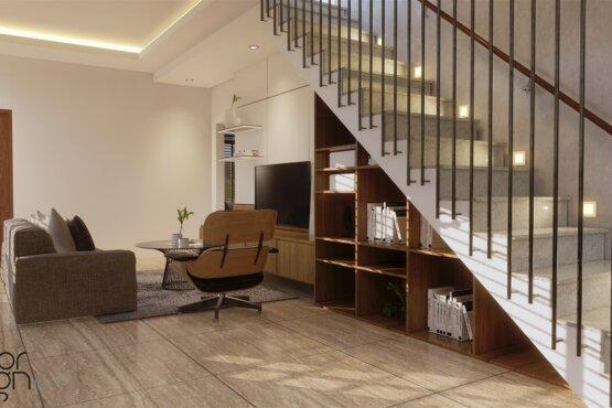 desain tangga dan ruang tv