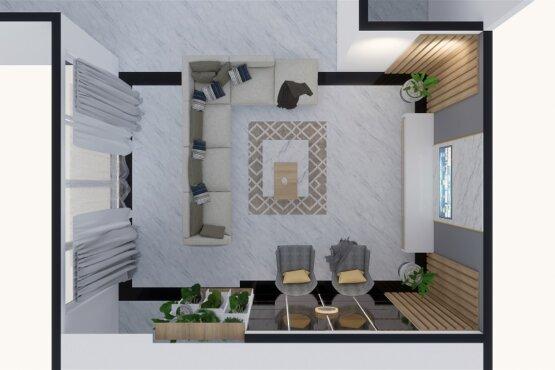 denah ruang keluarga gaya modern