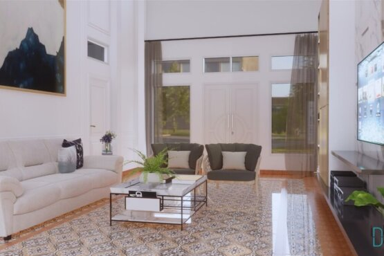 desain interior ruang keluarga gaya modern