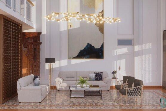 desain ruang keluarga gaya modern kolonial
