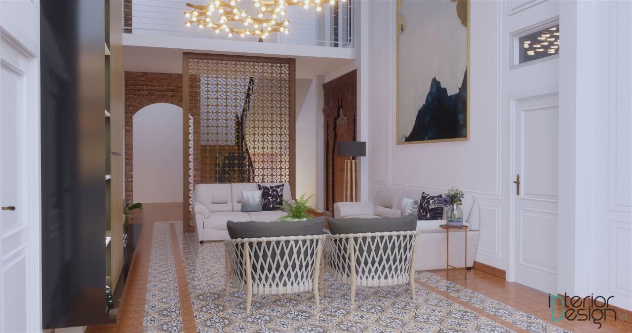 interior ruang keluarga gaya kolonial modern