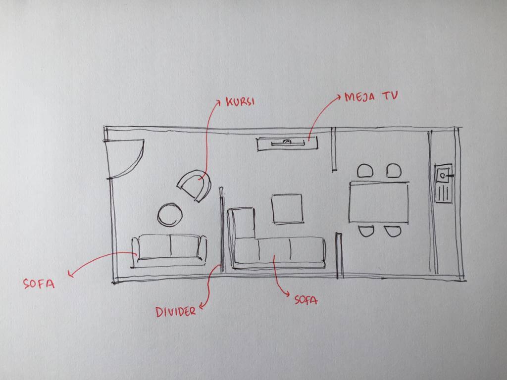 denah ruang tamu dan ruang TV