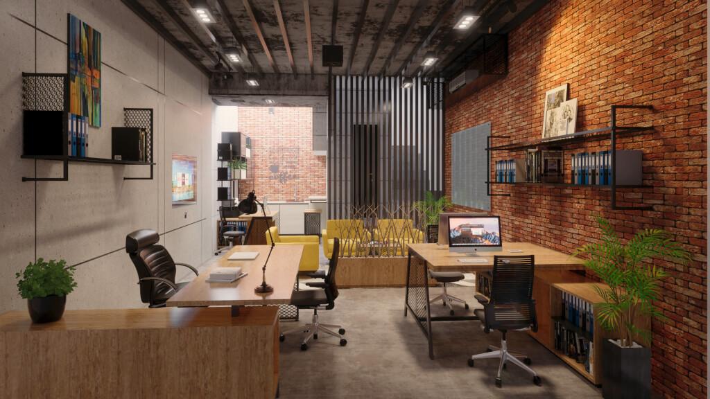 interior kantor gaya industrial