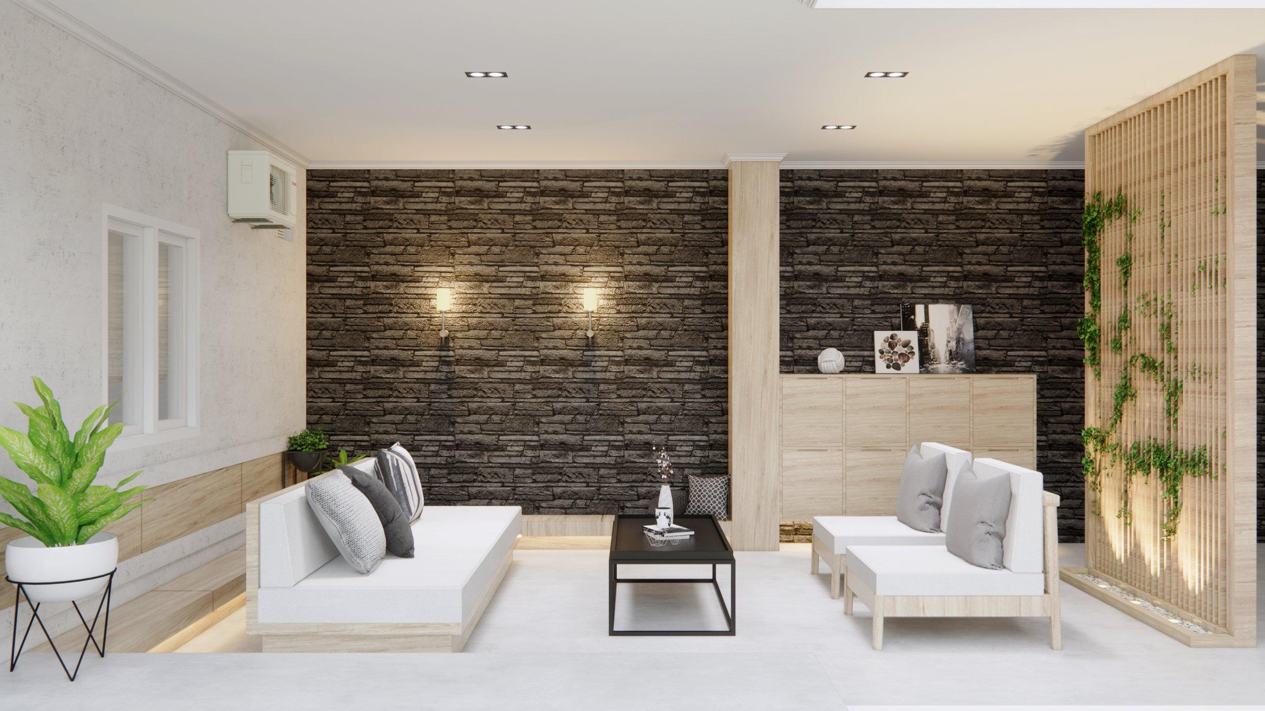 interior ruang keluarga gaya kontemporer