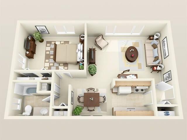 denah apartemen one bedroom