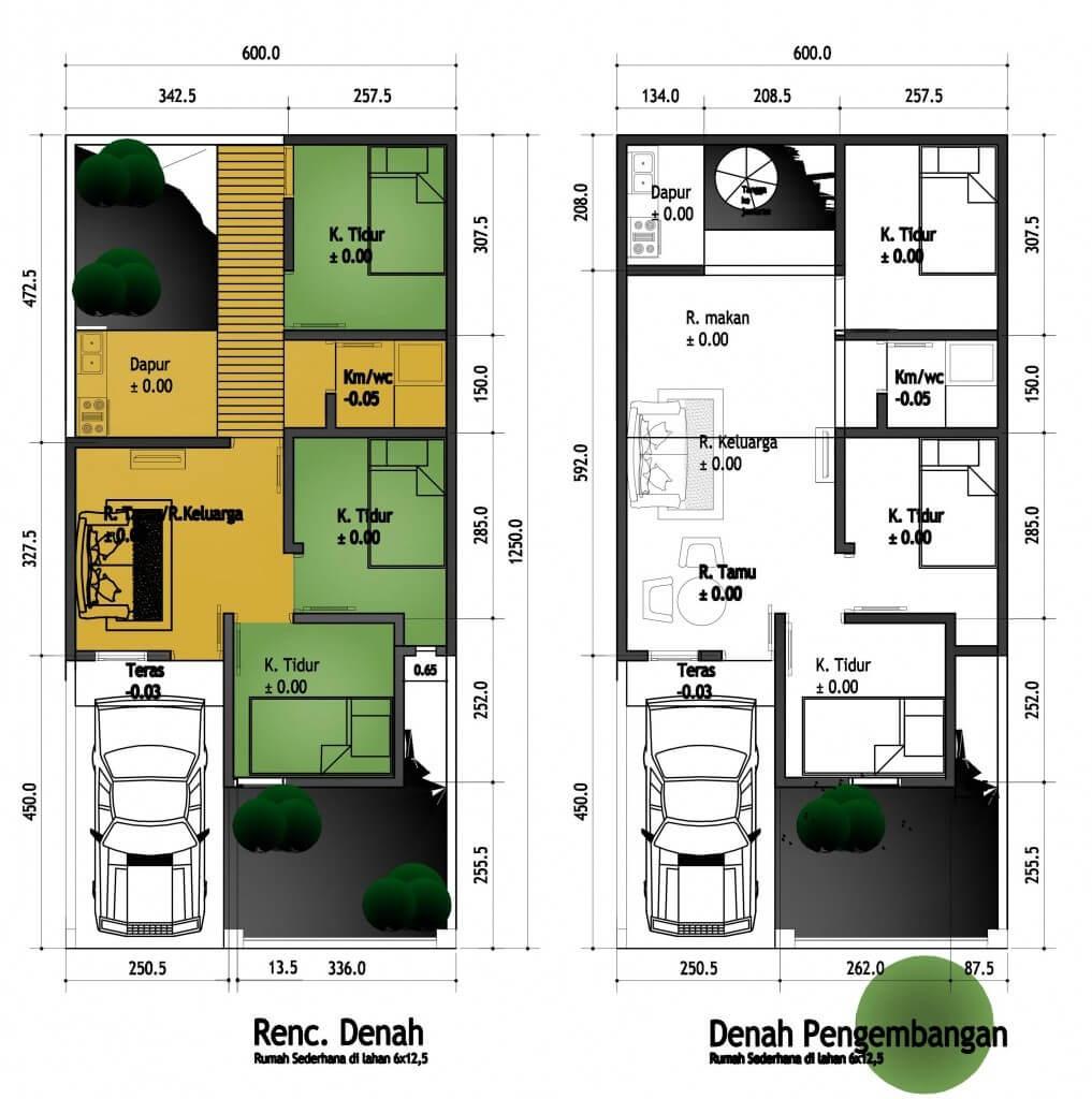 denah rumah minimalis 2 lantai ukuran 6x9 meter