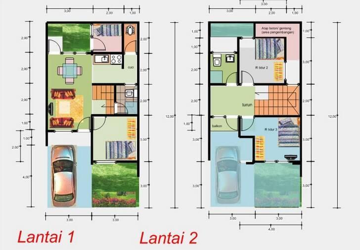denah rumah minimalis 2 lantai ukuran 6x12 meter