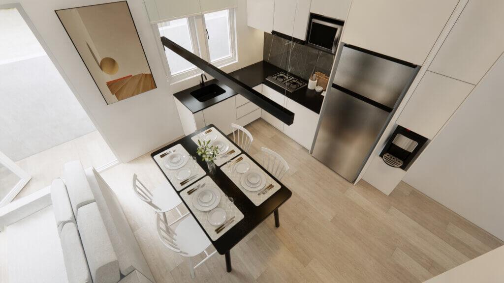 interior dapur dan ruang makan minimalis
