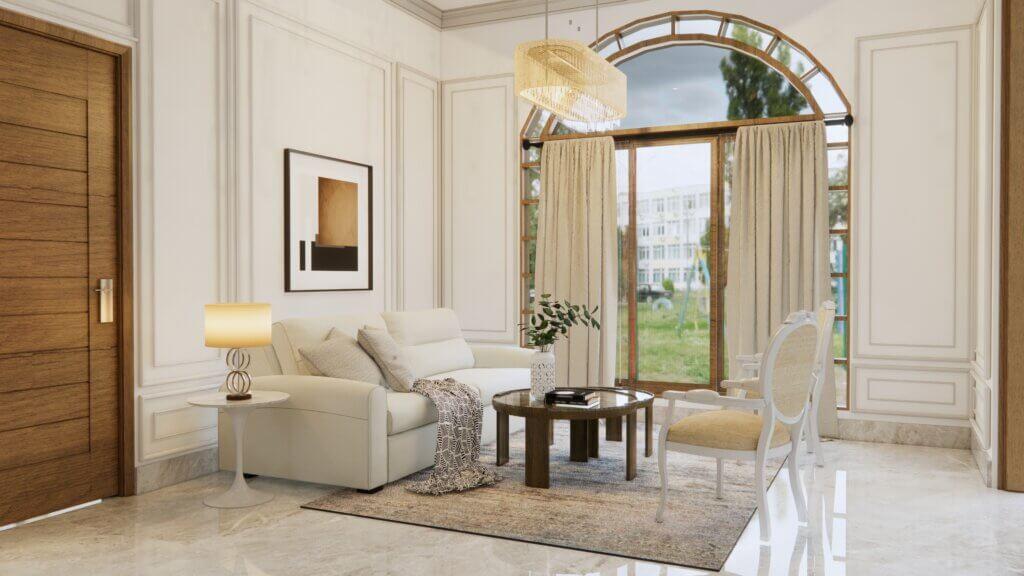 interior ruang tamu klasik modern jawa
