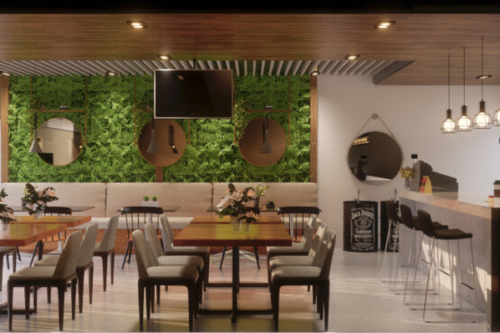 interior cafe gaya industrial bandung