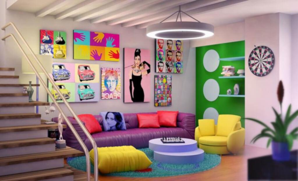 interior ruang keluarga gaya pop art