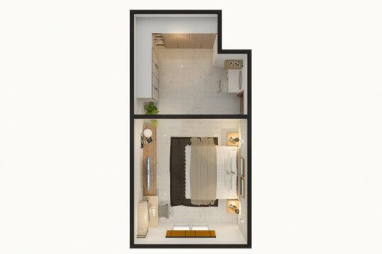denah kamar tidur gaya modern minimalis